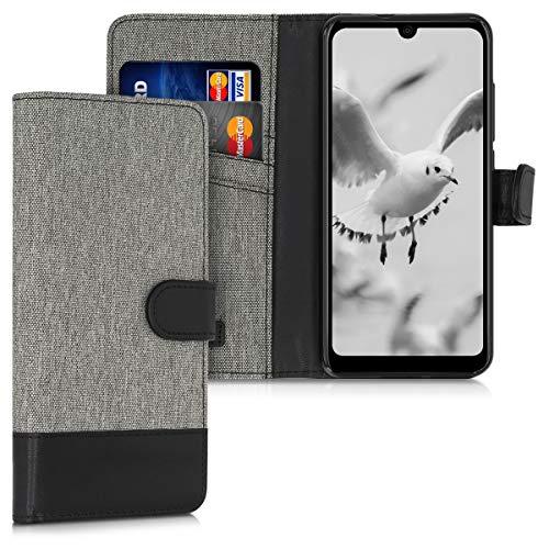 kwmobile Wallet Hülle kompatibel mit Wiko View 3 Lite - Hülle Kunstleder mit Kartenfächern Stand in Grau Schwarz