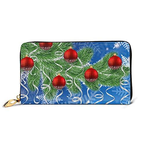 Geldbeutel Damen Groß | Portemonnaie Geldbörse Frauen mit 12 Kartenfächer & Fotofenster | großes Elegantes Leder Portmonee mit Handyfach & Reißverschluss,Weihnachtsbaum Schnee