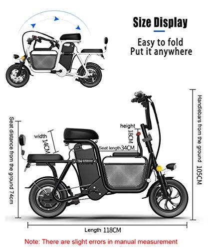 51PyQe3NSOL - YMWD 350W E-Bike Faltbares Für Erwachsene12'' Eltern-Kind 3 Sitze Elektrofahrrad Mountainbike Für Damen Und Herren Mit 48V 8-20Ah Lithium-Akku Perfekt Für Die Stadt