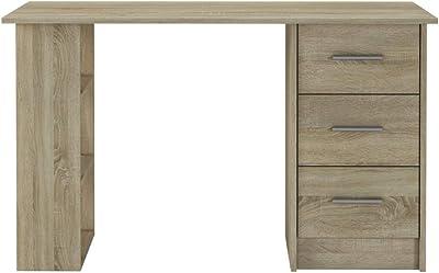 Selsey Sargas - Bureau Design -120x49 cm, Chêne Sonoma, 3 tiroirs - Style scandinave