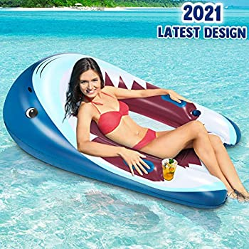Inflatable Pool Lounger Float 60  Unique Shark Beach Rafts and Floats with Comfortable Backrest and Armrest Extra Large Portable 2-Layer Leak-Proof Valve Water Hammock Lounge for Adults Pool or Lake