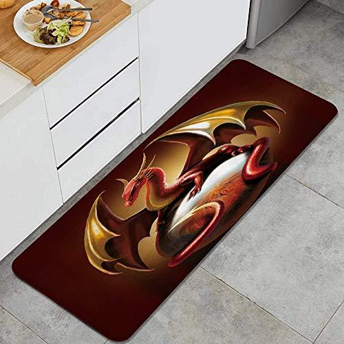 MUYIXUAN Alfombra de Cocina, Dragón Rojo pterosaurio Juvenil,tapete Decorativo para Piso de Cocina con Respaldo Antideslizante, 47'x17'