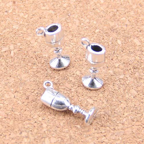 HJFGSAK 96 abalorios de copa de vino de 20 x 7 x 5 mm, colgantes antiguos, joyas de plata tibetana, para pulsera y collar, chapado en plata envejecida.