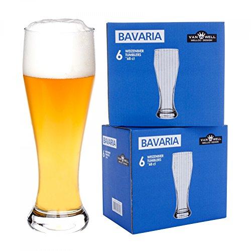 Van Well 12er Set Bavaria Weizenbiergläser klar | Bierglas geeicht bei 0.5L | Weizenglas | Weißbier-Glas | Gastro | Hotel-Restaurant & Bar