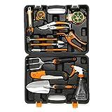 HOTPDR Garden Tool Set 12 PCS Include Pruning Shears Folding Hand Saw Shovel Shears Trowel Pruners Etc with Carrying Case Great Gifts for Men & Women