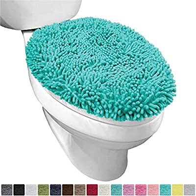 Gorilla Grip Original Shag Chenille Bathroom Toilet Lid Cover, 19.5 x 18.5 Inches, Large Size, Machine Washable, Ultra Soft Plush Fabric Covers, Fits Most Size Toilet Lids for Bathroom, Turquoise