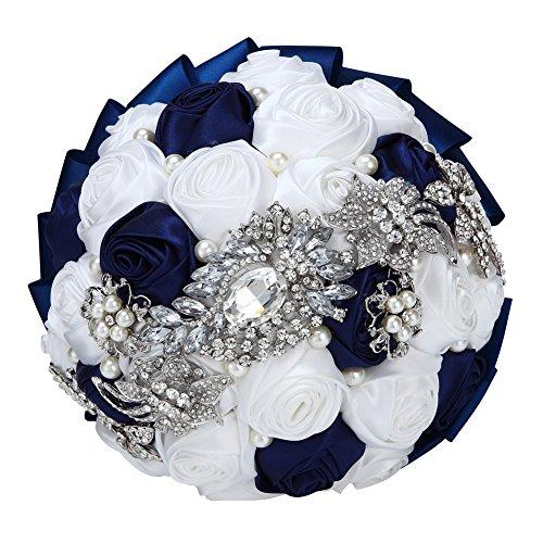 Bouquet Da Sposa con Fiori in raso, Strass e spilla con Perle navy und weiß