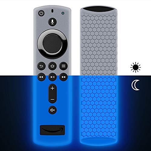 Hydream Funda de Silicona para Fire TV Stick 4K Control Remoto [Antideslizante] [Shockproof] Cubierta Protectora de Silicona para Fire TV Stick con Alexa Voice Remote (Azul Fluorescente)