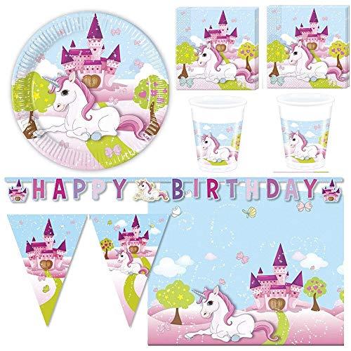 Zeus Party Kit Coordinato per Feste E Compleanno Unicorno Rosa (Piatti-Bicchieri-tovaglioli-Tovaglia-Festone e bandierine) (32 Persone)