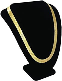 TUOKAY 18K Gold Herringbone Chain Necklace, 90s Fashion Hip Hop Flat Snake Chain for Women and Men School Rapper Kit Costume Accessory, Sparkling Faux Gold Chain Necklace. 24