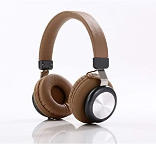 XHN Wireless Music Headset, Over-Ear Headphones for Sports, Soft Earpads, HD Deep Bass Headset for Travel Work TV PC Mobile Airplane-Brown