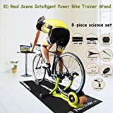 Soporte De Bicicleta Trainer Inteligente De Escena Real En 3D, Plegable Poder Líquido Resistencia La Bicicleta Turbo Trainer Estante Ciclo Aptitud Del Ejercicio Rodillos Para Bicicletas,8 piece set