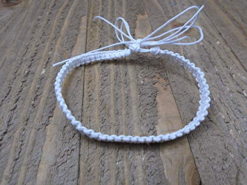 BEACH HEMP JEWELRY White Anklet Bracelet Adjustable Handmade In USA