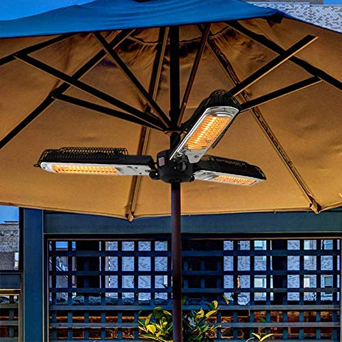 FENGZ Outdoor Patio Umbrella Heater,Courtyard Heater Folding Electric Infrared Space Heater with 3 Heating Panels for Pergola Or Gazabo Parasol,2000W