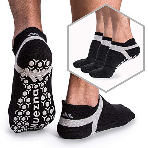 Muezna Men's Non Slip Socks, Anti-Skid Grip Yoga Pilates Barre Fitness Slipper Hospital Socks, 3 Pack