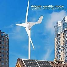 12V 500W Generador de Turbina de Viento Aerogenerador de 3 Palas Turbina Eólica de Aleación de aluminio de Bajo ruido de Alta eficiencia,Color blanco