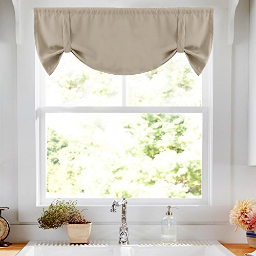 """Tie-up Valance for Kitchen Windows Tie Up Shade for Small Window Blackout Curtain Adjustable Window Valance Balloon Blind, Rod Pocket, 20"""" L - Taupe"""