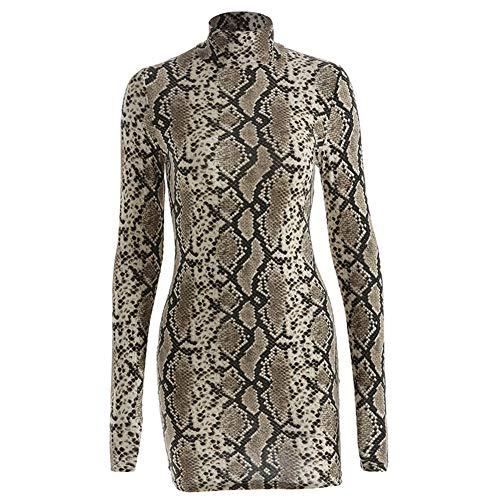 Eghunooye Frauen Rollkragen schlank Dress sexy Langarm Schlange Muster Bodycon Kurze Bodenbildung Dress Party Club wear Abendkleid Kleider (Large)