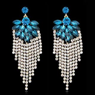 Women Elegant wedding Club Crystal Diamante Long Tassel Chandelier Earring