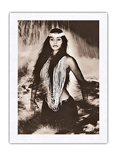 Pacifica Island Art Pele's Sister, Namakaokahai, diosa hawaiana del mar – Fotografía de Alan Houghton c.1960 – Tela Dupioni de seda 100% pura impresión de 60 x 81 cm