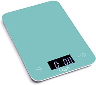Ozeri ZK013-T Touch Professional Tempered Glass Digital Kitchen Scale, Teal Blue