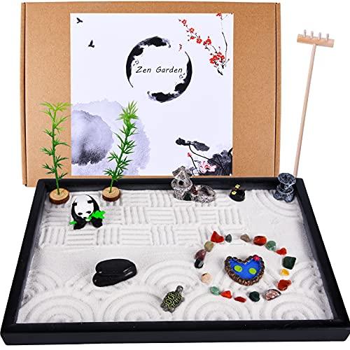 Zen Garden Kit - Japanese Garden with Mini Pagoda Panda Chakra Stone Bamboo Trees Lotus Pond...