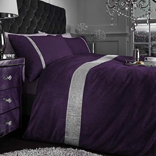 SELECT-ED Luxuries Diamante Kasia Teddy Bear Fleece Duvet Cover with Pillow Case Bedding Set (Qm-Purple Teddy, King)