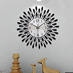 Karetto Modern 14 inch Metal Wall Clock Silver Dial with Arabic,Non-Ticking Silent Digital Black Drop Clock Home Decor for Bedroom,bedrooms Kitchen and Small Areas Space