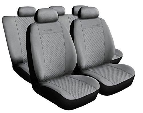 Auto 4u Premium Housses de Siège Auto Protège Set schonbezüge Housses de Siège Auto Coussin de siège auto de protection, Prestige, Kit complet de 5 sièges, gris