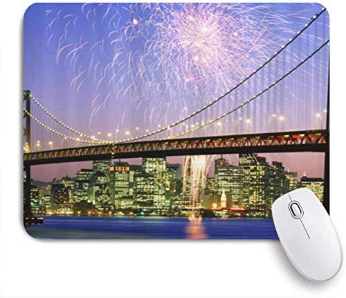 Benutzerdefiniertes Büro Mauspad,Feuerwerk über Bay Bridge im Frisco Pattern Digital Print,Anti-slip Rubber Base Gaming Mouse Pad Mat