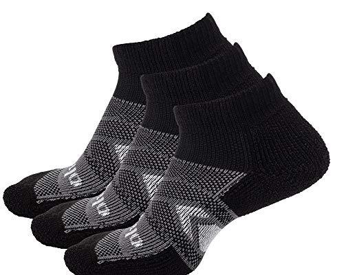 Thorlos Unisex-Adult's WCMU Work Maximum Cushion Ankle Sock, Black/Grey 3 Pack(Ankle), Large