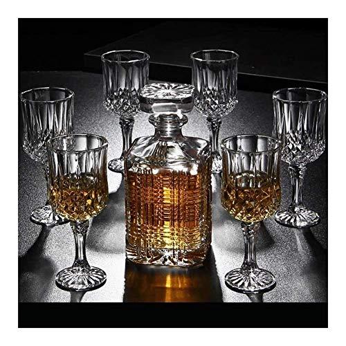 Juego de Jarra de Whisky, Regalos para Hombres, Juego de Jarra y Vasos de Whisky de 7 Piezas, Cristal sin Plomo con Tapa, Jarra de Whisky de 750 ml para Hombres, papá, Esposo (Color: B)