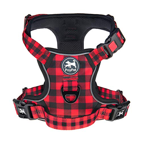 PoyPet No Pull Dog Harness, [Release on Neck] Reflective Adjustable No Choke Pet Vest with Front & Back 2 Leash Attachments, Soft Control Training Handle, Plaid(Checkered Red, Large)