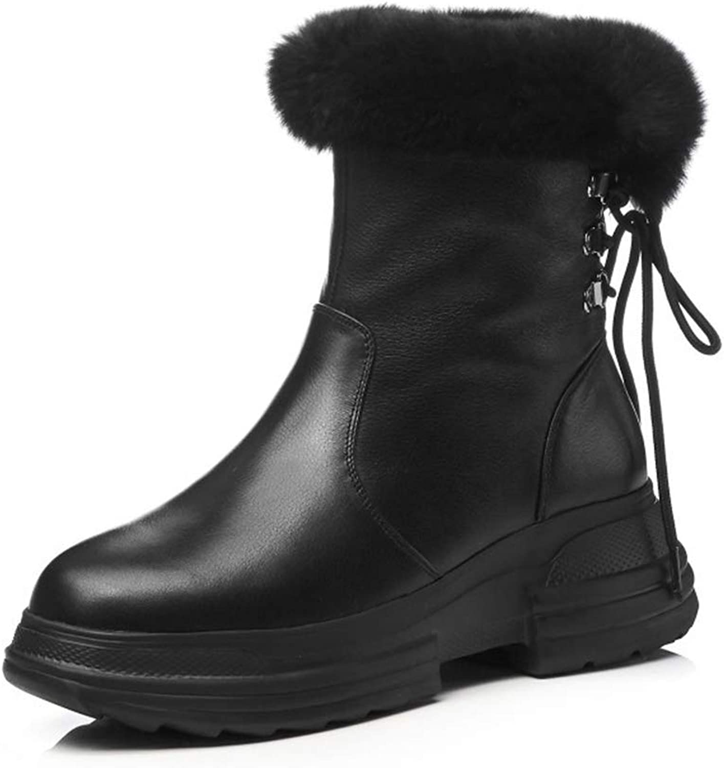 Womens Fashion Boots Winter New Leather Boots Ladies Chunky Block Elegant Heel Lined Ankle Booties Outdoor Snow Boots Vintage shoes (color   Black, Size   38)