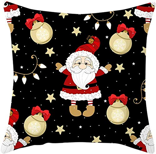 XXLYY Merry Christmas Polyester Pillowcase Christmas Pillow Case Polyester Sofa Throw Cushion Cover Home Decoration Decor Cusion Throw Pillow Cases for Chair Car Pillowcases 18x18 inch (C)