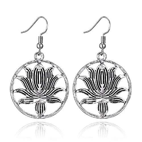 Silver Plated Blooming Silver Lotus Flower Earrings Yoga Earrings Wedding Jewelry Dangle Earings Gift for Women (Silver)
