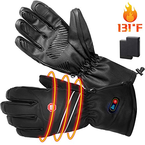 RTDEP Heated Gloves Winter Gloves Rechargeable Battery Electric Heated Gloves Waterproof Windproof Winter Leather Touch Screen Gloves Thermal Gloves Driving Cycling Gloves for Men&Women