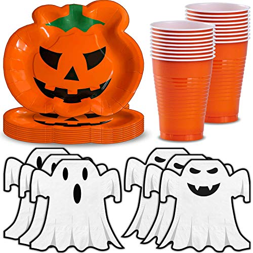 Halloween Party Supplies for 40 - Pumpkin Shaped Plates, Ghost Shaped Napkins, Orange Plastic Cups 12oz - Disposable Halloween Decorations and Tableware for Parties