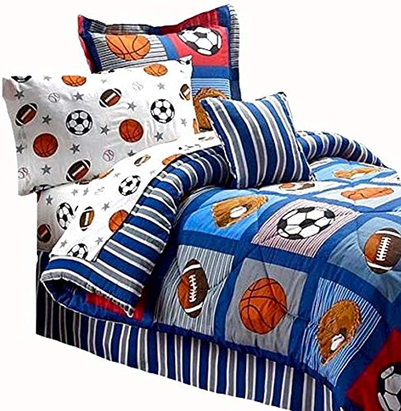 BOYS SPORTS PATCH Football Basketball Soccer Balls Baseball Blue REVERSIBLE Comforter Set FULL SIZE 8pc Bed In A Bag