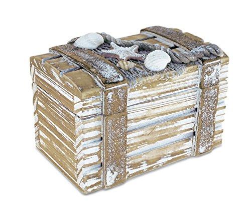 Puzzled Baja Small Rustic Wood Nautical Jewelry Box, 4.25' x 2.75' Handcrafted Hinged Lid Starfish Seashell Decor Keepsake Desk Organizer or Gift Box for Rings & Trinkets - Beach Home Decor Stash