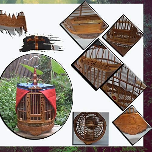 Vogelkafig Vogelbauer Kanarienvogel Alter Bambusvogelkäfig Von Handarbeit Chinesischer Vogelkäfig Der Dekorativen Sammlung Drossel Grackle Myna Universalkäfig ( Color : Brown-B , Size : 33*33*47 cm )