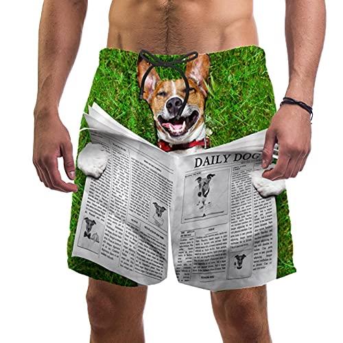 RuppertTextile Pantalones Cortos Hombre Bañadores Secado rápido Bolsillos CordónPeriódico de Lectura de Perros Trajes baño Playa Deportivos Casuales