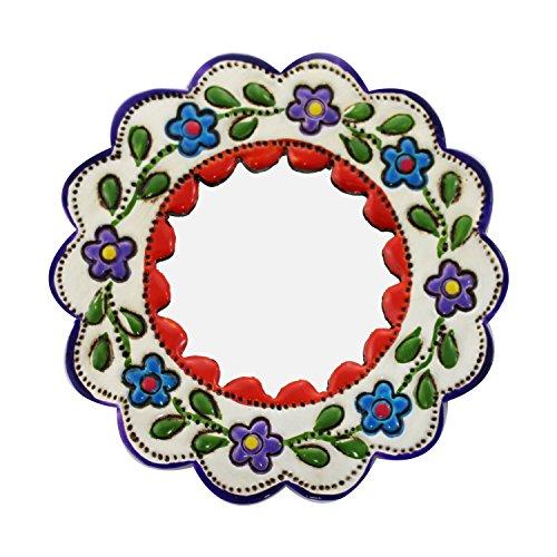 mitienda met liefde gemaakte wanddecoratie   Decoratieve wandspiegel   Decoratie van plaatstaal   Handgemaakt   Wandversiering metaal   kinderkamer decoratie   Geschenkidee (rood/wit - rond)