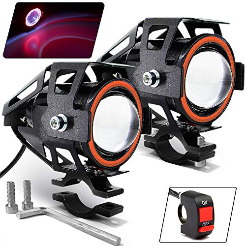 Motorcycle Headlight Cree U7 LED Fog Lights Spotlight Daytime Running Lights with Red Angel Eyes Halo Ring and ON/Off Toggle Switch 2-Sets