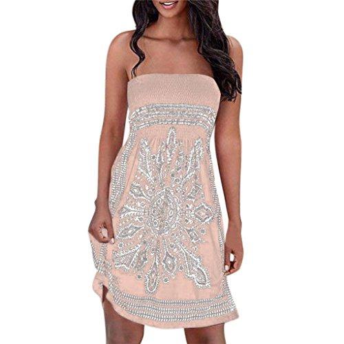 LuckyGirls Sommerkleider Damen Bandeau Kleid Strand Abendkleid Schulterfrei Kleid ärmelloses Kleid Strandkleider (Khaki, L)
