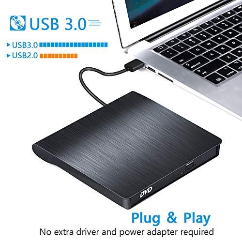 Externes CD/DVD Laufwerk USB 3.0, BEVA Tragbar CD/DVD-RW Brenner CD Laufwerk Plug and Play für alle Laptops Desktops unter Windows 7/8/10 und Mac OS für MacBook, MacBook Pro, MacbookAir, iMac