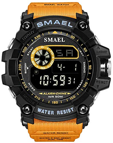 Men Military Sport Watch Fashion Multifunction Digital Watches Alarm Stopwatch Waterproof LED Wristwatch (Orange)