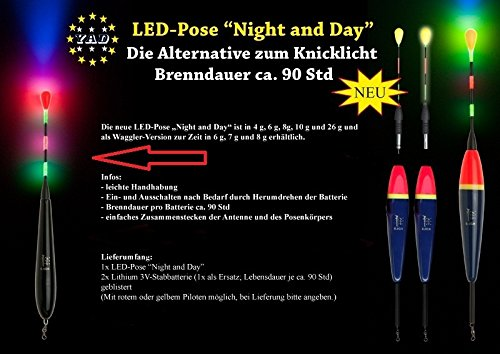 1x-LED-YAD-Pose-WAGGLER Night-and-Day-8g-inkl-2-x-Stabbatterien-3V CR435 (Pilot ROT, 8 Gramm)