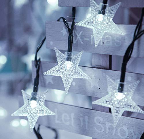 Solar 2 funciones cadena de luz de estrella blanca fría al aire libre impermeable decoración de jardín de vacaciones cadena de luz 100LED