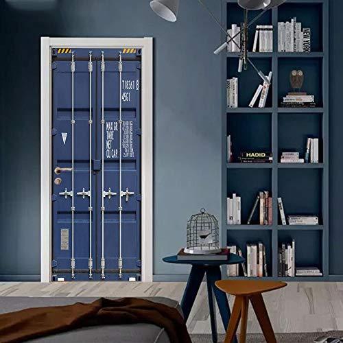Zhoudd 3D türposter selbstklebend Blauer Container-LKW Türfolie Wohnzimmer Schlafzimmer Kinderzimmer Abnehmbare Tür Kunst Dekoration 88x200cm